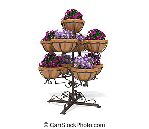 3d illustration of a street flower bed on a white background
