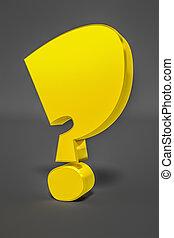 a stylish yellow question mark