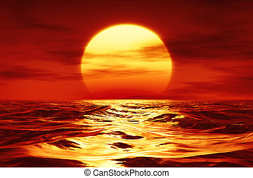 a sunset over the wild sea