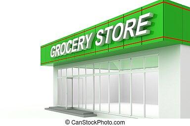 3D illustration of a supermarket