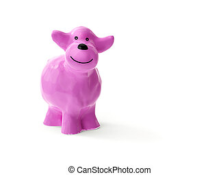 a sweet little pink ceramic sheep