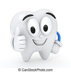 Thumbs Up - 3D Illustration of a Tooth Giving a Thumbs Up
