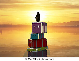 3d illustration of a travel penguin