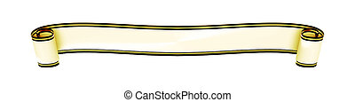 a typical curled ribbon banner isolated on white background