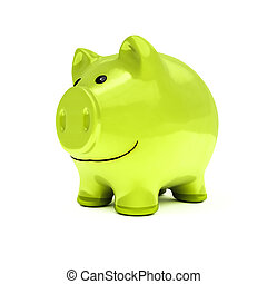 typical piggy bank in green color