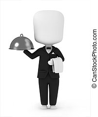 3D Illustration of a Waiter Carrying a Serving Tray and a Towel