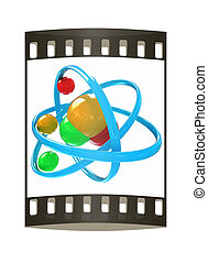 3d illustration of a water molecule. The film strip