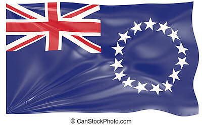 3d render of a Waving Flag of Cook Islands