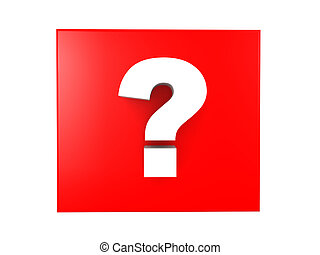 3D illustration of a white question mark over a red background