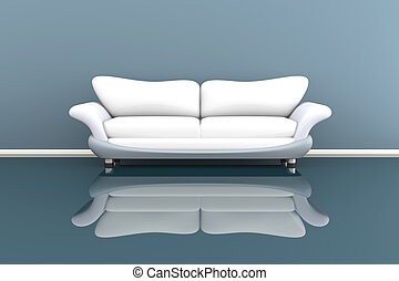 3d illustration of a white sofa in a grey room