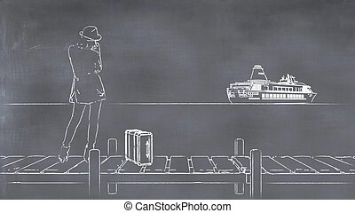 3D illustration of a whiteboard with a drawing of a woman