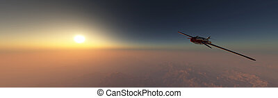 airplane prototype furrowing the sky - 3d illustration of ...
