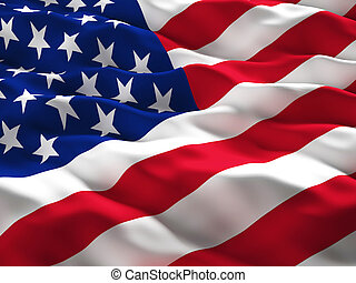 old glory - 3d illustration of american old glory flag