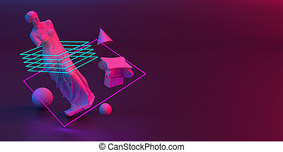 3d-illustration of an abstract composition of Venus sculpture and primitive objects