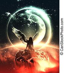 Angel in heaven land - 3d illustration of an Angel in heaven...