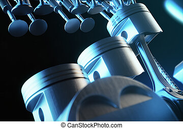 3d illustration of an internal combustion engine. Engine parts, crankshaft, pistons, fuel supply system. V6 engine pistons with crankshaft in motion. Illustration of car engine inside.