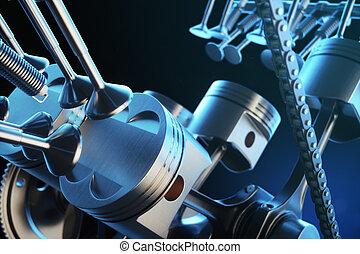 3d illustration of an internal combustion engine. Engine parts, crankshaft, pistons, fuel supply system. V6 engine pistons with crankshaft in motion. Illustration of car engine inside.