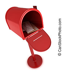 Mailbox - 3D Illustration of an Open Mailbox with Letters ...