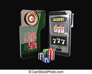3d Illustration of app online casino concept. Winner triple sevens at slot machine and roulette on the phone screen.