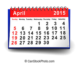 april 2015 calendar - 3d illustration of april 2015 calendar...