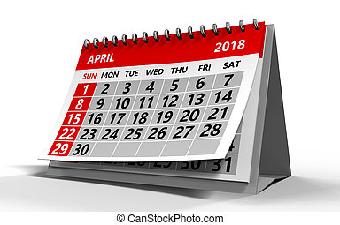 april 2018 calendar - 3d illustration of april 2018 calendar