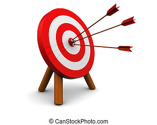 3d illustration of archery target hit with three arrows, over white background