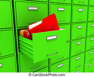 3d illustration of archive with folder