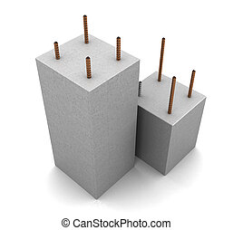 armored concrete - 3d illustration of armored concrete ...