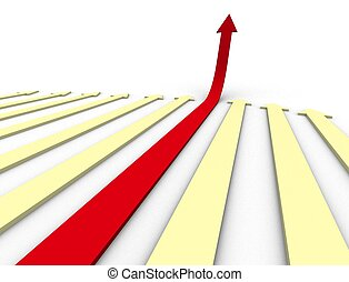 arrows reaching upward - 3d illustration of arrows reaching...