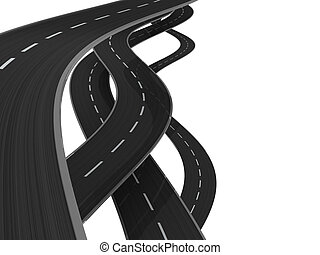 roads - 3d illustration of asphalt roads background