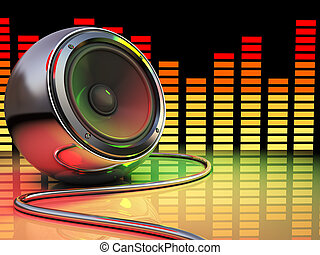 disco - 3d illustration of audio speaker and spectrum, disco...