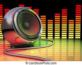 disco - 3d illustration of audio speaker and spectrum, disco...