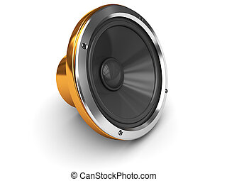 audio speaker - 3d illustration of audio speaker over white...