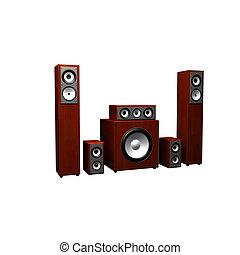 3d illustration of audio system over white background