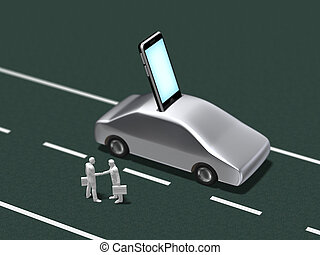 3D illustration of automobile mobile communication