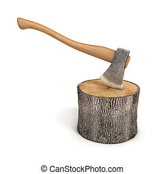 axe in a wooden stump - log isolate - 3d illustration of axe...