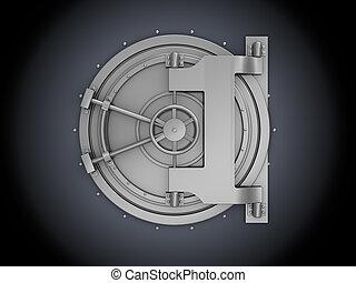 bank vault - 3d illustration of bank vault over black...