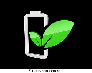 3d illustration of Battery with green leaf - eco energy concept. isolated Black.