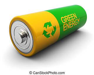 battery - 3d illustration of battery with recycling sign and...