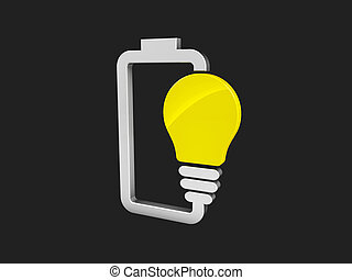 3d illustration of Battery with yellow lightbulb - eco energy concept. isolated black