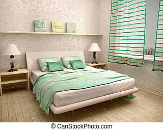 3d illustration of bedroom interior in a light turquoise