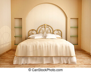 3d illustration of bedroom interior in soft beige tones