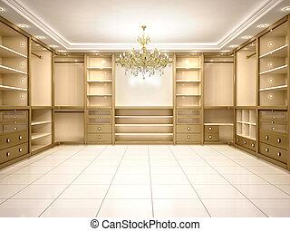 3d illustration of Big empty walk in wardrobe in luxurious...