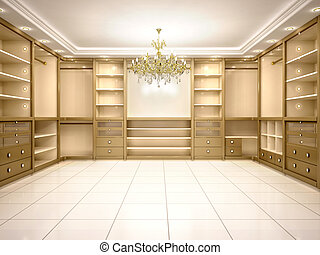 3d Illustration Of Big Empty Walk In Wardrobe Luxurious
