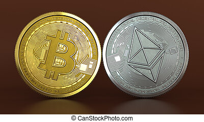 bitcoin and ethereum - 3d illustration of bitcoin and ...