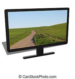 3d illustration of black desktop computer