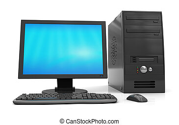 3d illustration of black desktop computer over white background