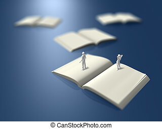 3D illustration of blank books