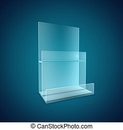 Blank Brochure Glass Holder - 3D Illustration of Blank...