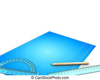 3d illustration of blank over blueprint background with drawing tools